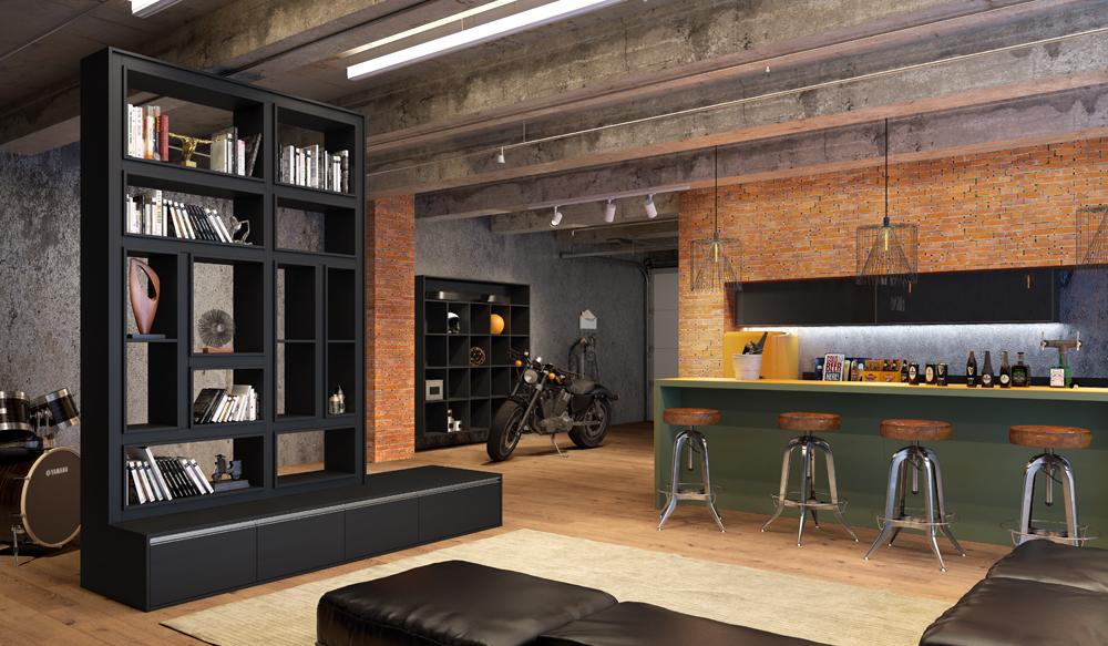 Móveis planejados para home theater em santos_Legno-Clore-Preto-Legno-Colore-Amazon-