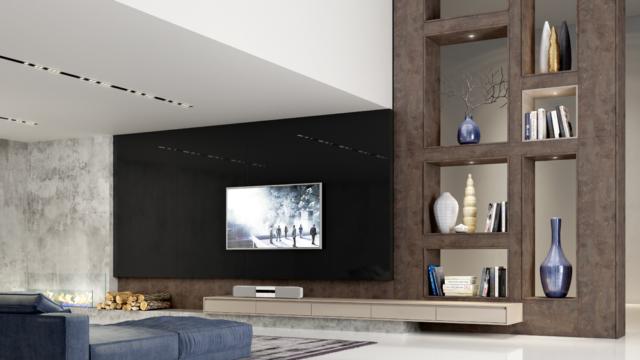 Planejado para o seu Home theater High-Gloss-Camoscio-e-Nero-